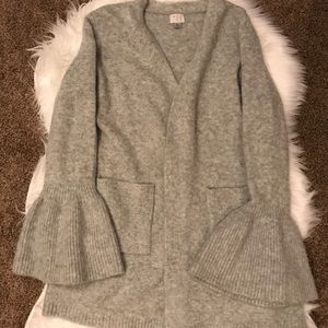 A New Day grey cardigan sweater with bell sleeves.